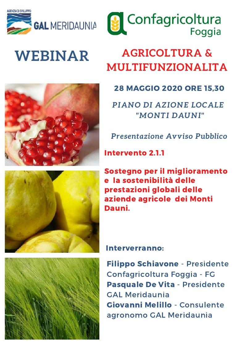 WEBINAR: AGRICOLTURA&MULTIFUNZIONALITA'